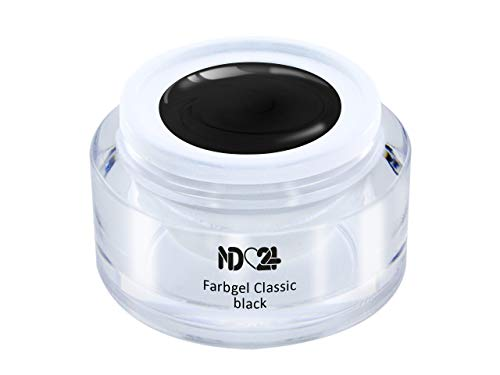 5ml - UV LED FARBGEL - Gel Classic black - SCHWARZ Color NagelGel hochdeckend mittelviskos für Nageldesign Modellage - French Nail Art Gel - Studio Qualität - MADE IN GERMANY