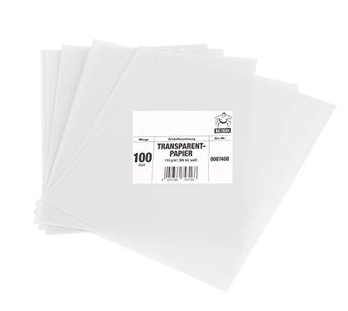 BigDean 100 Blatt Transparentpapier 115 g/m² extra stark, weiß/durchsichtig - DIN A4 bedruckbar - Made in Europe - Bastelpapier, Laternenpapier, Windlicht-Papier, Architektenpapier