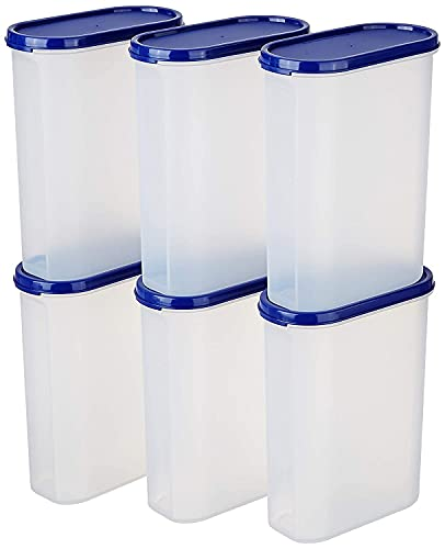 UCRAVO Kitchen Storage Container with Air Tight Plain Lids Multi Purpose Container for Rice, Dal, Atta, Flour, Snacks, Stackable, Cereals, Sugar & More (Set of 6/2000 ML)