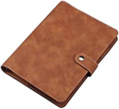 A5 PU Leather Notebook Binder, Refillable 6 Round Ring Binder Cover for A5 Filler Paper, Notebook Personal Planner Binder - Brown