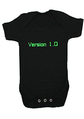 Body con diseño de Geek/Nerd versión 1.0, divertido, para bebé, ideal como regalo, para niños o niñas, de Baby Moo's negro negro Talla:0-3 Meses