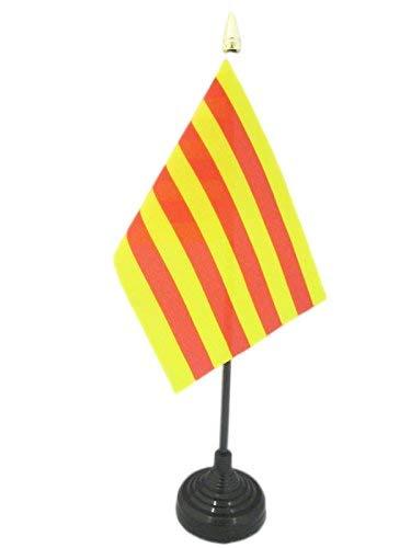 AZ FLAG Bandera de Mesa de CATALUÑA 15x10cm - BANDERINA de DESPACHO CATALANA - Catalunya 10 x 15 cm Punta Dorada