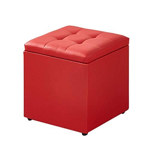 QXX Iaizi kruk, polyurethaan, gestoffeerd, praktisch voor zitzak, zitzak van ottomane, opbergruimte van kunstleer (kleur: roze, afmetingen: 40 x 40 cm) QX6487r-8 Qx6487r-8