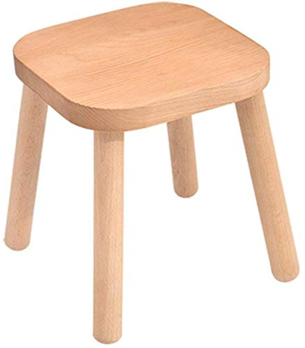 A/N Change Shoes Stool Foot Rest Stool - 4 Legged Stool Standing At Brown Small Wooden Stool Shoe Stool Coffee Table Stool-26 * 26 * 29cm_Wood_Color