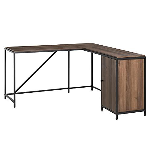 HOMCOM L-Shaped Computer Corner Desk with Cabinet, Adjustable Shelf, PC Table Workstation for Home...