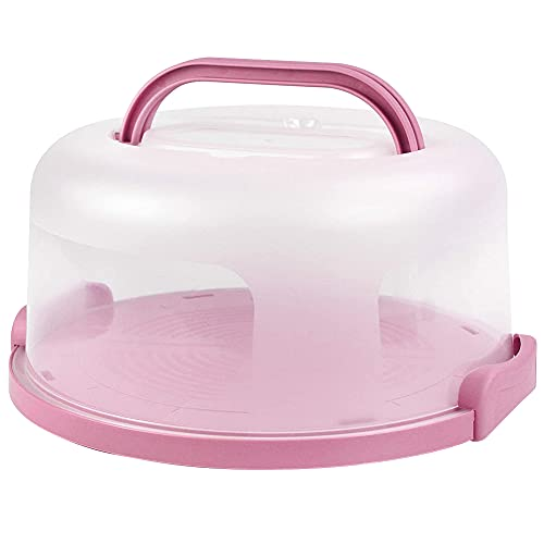 Athemeet Porta Pasteles Caja de contenedores para Pasteles Soporte Redondo para Pasteles Bandeja para Servir Soporte de Almacenamiento Plástico PP con asa Tapa de cúpula Transparente 10 Pulgadas Rosa
