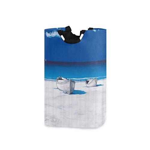 BEITUOLA Laundry Basket,Beach Ocean Fishing Boat With Horizon The Beachfront Watercolor Print,Portable Washing Basket,Laundry Hamper with Handle,Storage Bag,Laundry Bin,Large Capacity,Collapsible