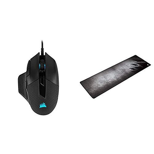 Corsair Nightsword RGB, Anpassbare Performance FPS/MOBA-Optisch-Gaming-Maus (18.000DPI Optisch Sensor) schwarz & MM300 Nicht Fransender Stoffoberfläche Größe XL Gaming-Mauspad