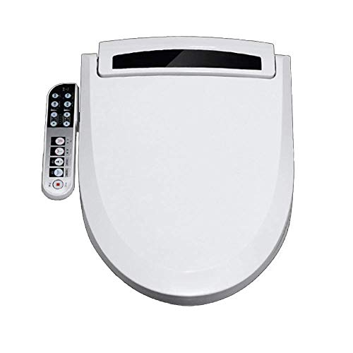 Bidet Asiento de inodoro con bidé inteligente electrónico, alargado, tapa de cierre suave, agua tibia, secador de aire caliente, asiento con calefacción, boquilla autolimpiante, luz nocturna, lavado