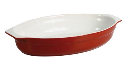 Crealys 512723 - Pirofila in Ceramica, Ovale, con Manici, 35,5 x 20 x 6 cm, Colore: Rosa Lampone