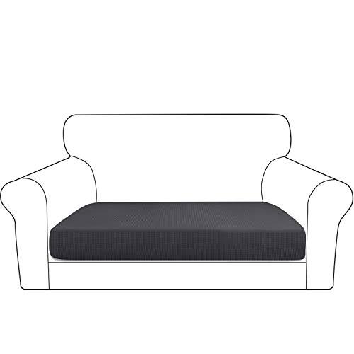 Granbest Dicke Sofa Sitzkissenbezug, High Stretch Jacquard Sitzkissenschutz Sofasitzbezug für Couch (2 Sitzer, Grau)
