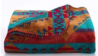 Denali Ultimate Comfort Western Throw Blanket, Single-Sided, Plush, Hand-Stitched, Super Cozy Blankets Made in The USA, Native Trail Turquoise