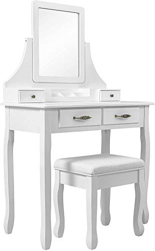 Ms Bedroom Furniture Dresser Dresser Dressing Table with Four Drawers rotatable Mirror,White