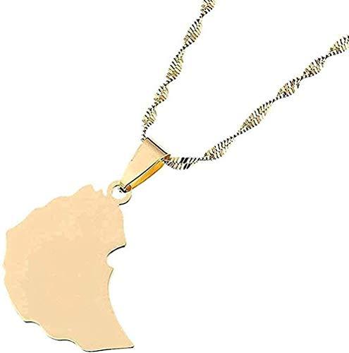 YOUZYHG co.,ltd Collar Collar de Acero Inoxidable Tarjeta etíope Collares Pendientes Regalo para niñas Tarjeta de Color Dorado Regalo de joyería para niña Regalo para Mujeres Hombres Regalo