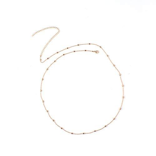 AchidistviQ einfach Damen Bikini Körper Kette Harness Slave Perlen Bauch Taille Halskette Schmuck goldfarben
