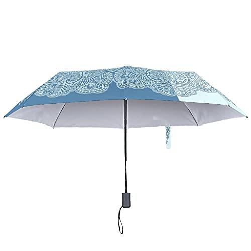 Paraguas de lluvia cian oscuro con cierre abierto automático -textura resistente al viento 8 varillas invertidas paraguas, Blanco3 (Blanco) - Knowikonwn-UBR