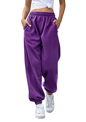 Women Dance Sweatpants Casual Pockets Jogger Mujer High Waist Sporty Gym Athletic Fit Pants Lounge Trousers Purple X Large