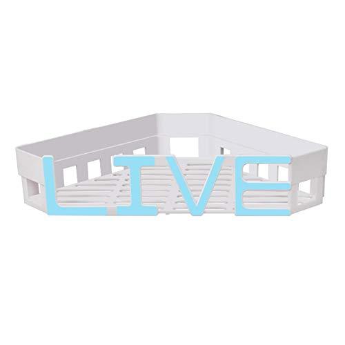 Honton Práctico estante de almacenamiento autoadhesivo montado en la pared, organizador de especias cesta de almacenamiento para jabón, no necesita taladro, 33 x 28 x 6 cm, azul vivo