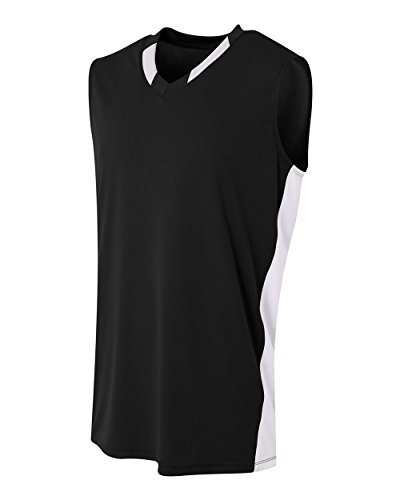 A4 Sportswear Black/White Adult XL Blank 2-Color Sleveeless Top