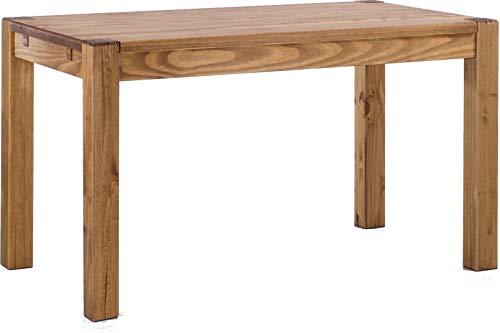 Brasilmöbel Esstisch Rio Kanto 130x80 cm Brasil Pinie Massivholz Größe und Farbe wählbar Esszimmertisch Küchentisch Holztisch Echtholz vorgerichtet für Ansteckplatten Tisch ausziehbar