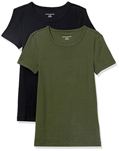 Amazon Essentials Women's 2-Pack Slim-Fit Short-Sleeve Crewneck T-Shirt, Dark Olive/Black, Large