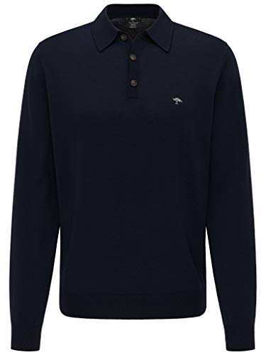 FYNCH-HATTON Herren Polo Langarm - Sweatshirt Poloshirt Long Sleeve mit Polokragen aus Premium Merino Polohemd in Unifarben