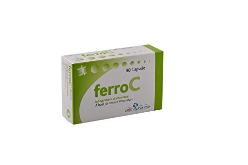 FerroC Integratore di Ferro Forte Pirofosfato Micronizzato Superdisperso con Vitamina C, Alto Dosaggio 30 Mg, Alta Biodisponibilità, Eccellente Tollerabilità Gastrica, No Sapore Sgradevole - 30 Caps