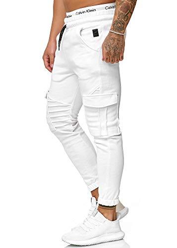 OneRedox Herren Jogging Hose Jogger Streetwear Sporthose Modell 1214 Weiss XL