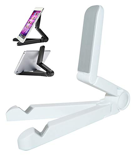 thb Richter - Supporto Universale per Tablet, per Smartphone, Pieghevole, Regolabile, per Tablet, Kindle E-Reader, e-Book, Smartphone, iPad Bianco