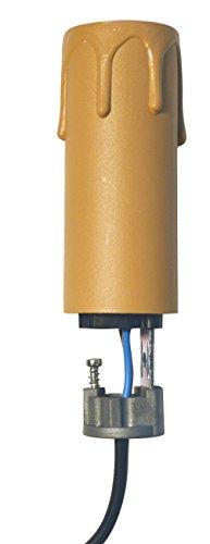Tibelec 707630 Bougie Cire diamètre 24 mm + Support E14 Hauteur 6 cm, Plastique, Blanc, 8 cm