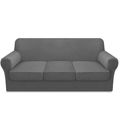 FAHUA 4 Piece Stretch Couch Cover for 3 Cushion Couch Thick Premium Sofa Slipcover with Individual Cushion Covers Customized 3 Seater Sofa Cover Dog Pet Proof (Large, Light Gray)