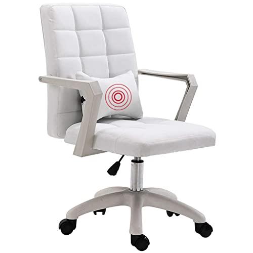 WSDSX Desk Chair,Computer Chair Home Schlafzimmer Lift Rotierender Liegestuhl Bequemer sitzender, atmungsaktiver, ergonomischer, gepolsterter Stuhl aus Kunstleder, weiß