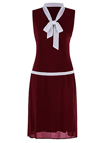 VIJIV Women's Flapper Dresses 1920s Gatsby V Neck Grey Bow Drop Waist Fashion Roaring 20's Dress