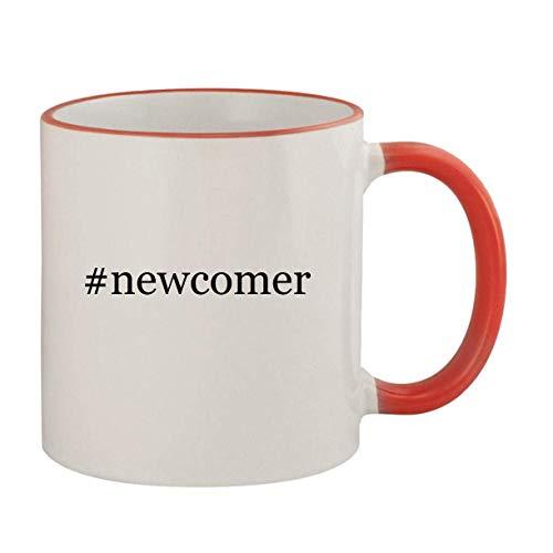 #newcomer - 11oz Ceramic Colored Rim & Handle Coffee Mug, Red
