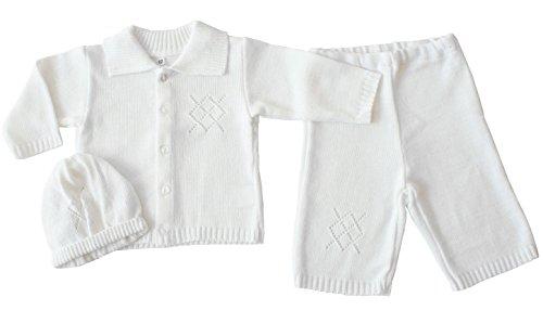 EKO Baby Jungen Taufanzug Jacke, Hose und Mütze Taufkleid Set weiß, Größe:74, Farbe:weiß