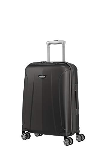 travelite 4-Rad Koffer Handgepäck mit TSA Schloss erfüllt IATA Bordgepäck Maß, Gepäck Serie ELBE: Widerstandsfähiger Hartschalen Trolley, 075547-04, 55 cm, 37 Liter, anthrazit (grau)