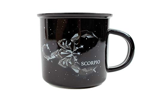 Stargazer SCORPIO Astrology Camp Mugs by Creature Cups | Ceramic Horoscope 13.5 Ounce Cups with Traits Revealed Inside | Birthday Constellation Signs | Holiday Gift for Coffee & Tea Lovers