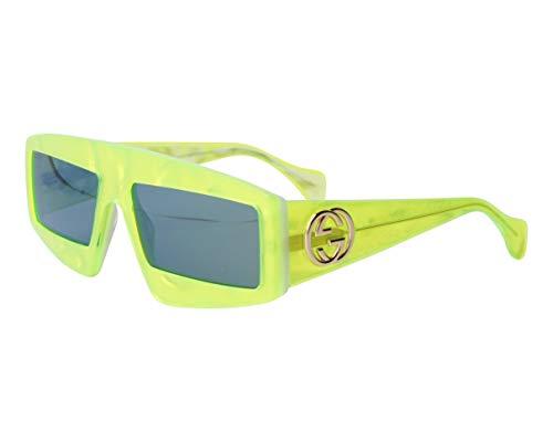 Gucci Occhiali da Sole Donna GG0358S 003 Gialli Squadrati Specchiati a Specchio Verdi cal 61