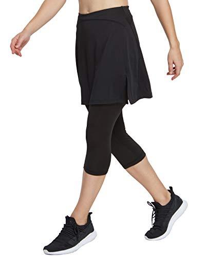 Westkun Falda de Mujer hasta La Rodilla con Capri Legging Pantalones Deportivos de Tenis Tallas Grandes Pantalones Entrenamiento Netball con Bolsillos Interiores 2 en 1