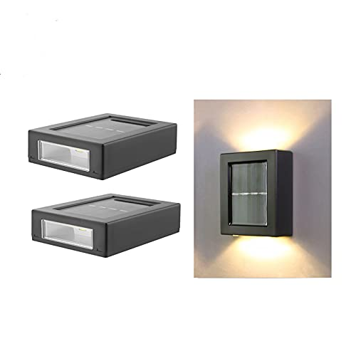 2 LED Solar Wall Light UP and Down Illuminate Outdoor Sunlight Sensor Lamp IP65 Waterproof Modern Nordic Style Decor for Home Garden Porch