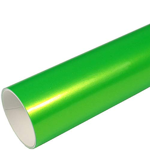 Rapid Teck® 9,86€/m² AutoFolie Serie 560MG ColorShift Gloss Green Sparkling 1m x 1,52m Grün Glanz Premium Car Wrapping Folie mit Luftkanal