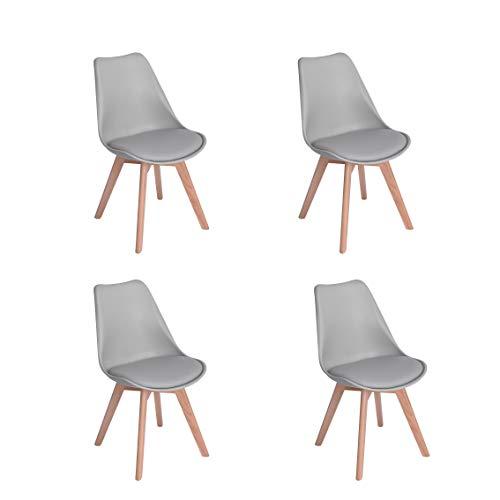 Naturelifestore Pack de 4 sillas de comedor / oficina con madera de haya Piernas Para Comedor / Sala de estar / Café / Restaurante, Gris