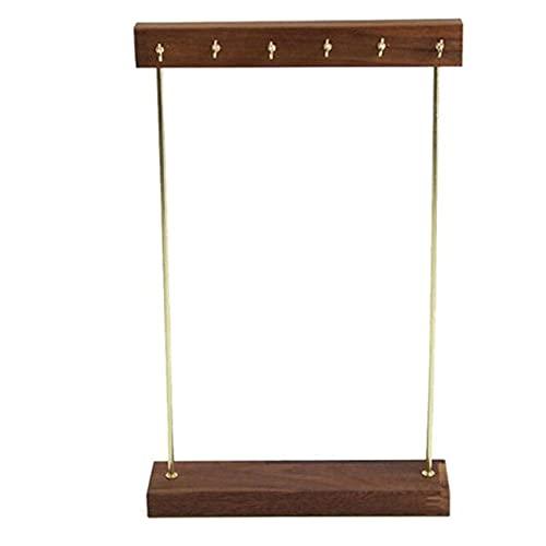 Joyería de madera Soporte de órgano con estante de gancho para colgar pendientes, collar y pulsera accesorios de almacenamiento-marrón