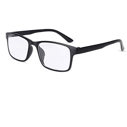 CAOXN Gafas De Lectura Bifocales, Lentes De Resina Antifatiga para Exteriores para Hombres Y Gafas Ópticas De Aumento De Hipermetropía De Fotograma Completo TR90,+3.00