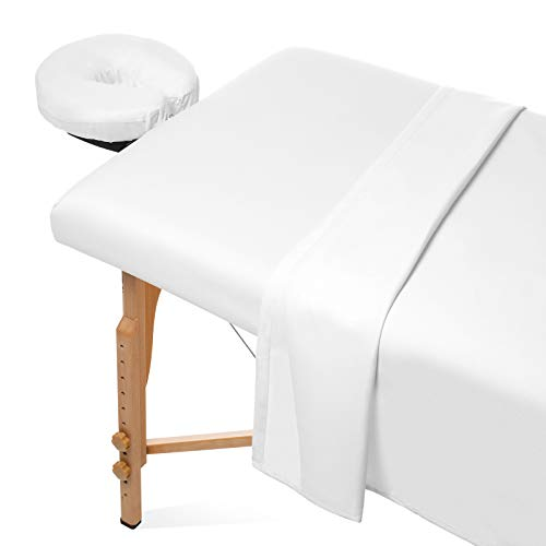 Saloniture 3-Piece Microfiber Massage Table Sheet Set - Premium Facial Bed Cover - Includes Flat and Fitted Sheets with Face Cradle Cover - White