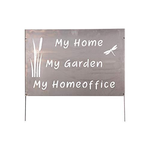 RM E-Commerce Gartendeko Gartenstecker Metallschild Homeoffice DIY Rostoptik 3D Optik für Terrasse oder Balkon