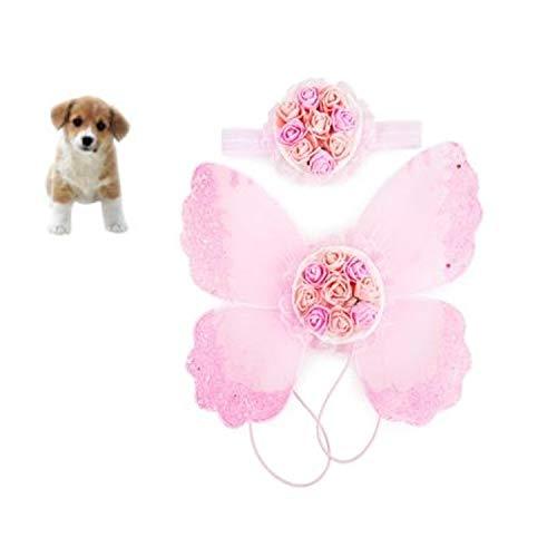 Haustier Hund schöne funkelndes Schmetterlingsflügel Geschirr und Blumenkopfschmuck Haustier Hund Prinzessin süß Geschirr Dekoration Hundewelpe Blume Fliege Haarzusatz klein mittelgroßer Hund Huangchu