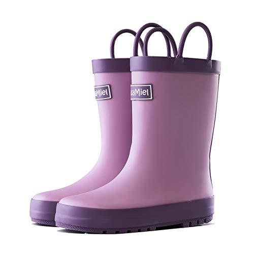 CasaMiel Kids Rain Boots for Girls Toddler Rain Boots for Girls, Kiddo Waterproof Natural Rubber Rain Boots for Babies and Bigger Kids Children Water Boots Botas para Niños Purple