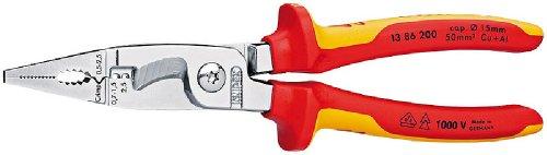 KNIPEX Alicate para instalaciones eléctricas aislado 1000V (200 mm) 13 86 200 SB (cartulina autoservicio/blíster)