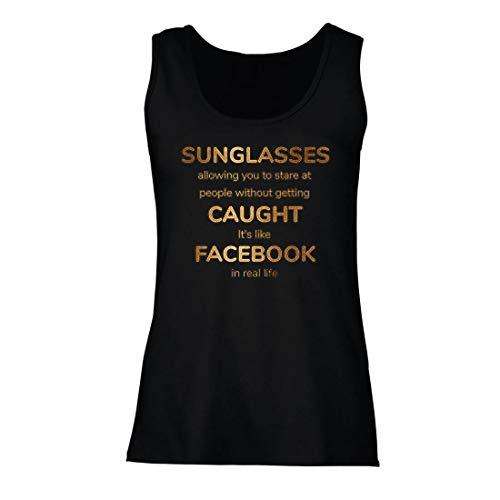 lepni.me Damen Tank-Top Lustiges Facebook-Angebot für Social Media im wirklichen Leben (Small Schwarz Mehrfarben)